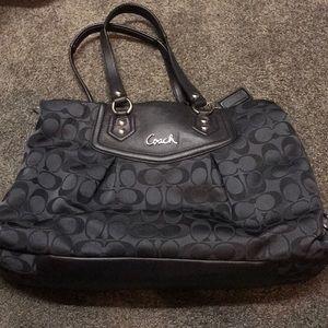 Black coach tote purse